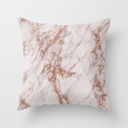 Abstract blush gray rose gold glitter marble Throw Pillow