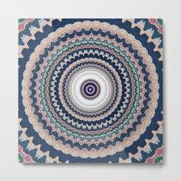 Dark Navy Blue Pattern Mandala Metal Print