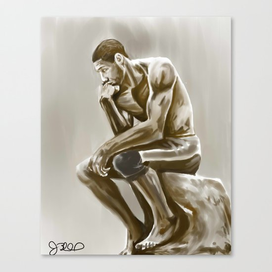 Tim Duncan, the thinker Canvas Print