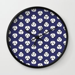 Blue Pixel Panda Pattern Wall Clock
