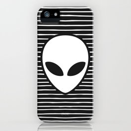 Alien on Black and White stripes iPhone Case
