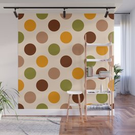 Funky jumbo polka dots brown, orange, green Wall Mural