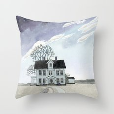 House under the Starry Skies Throw Pillow