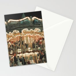 Magic Parisian carousel at night Stationery Cards
