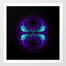 Blue flowered globe abstract Art Print