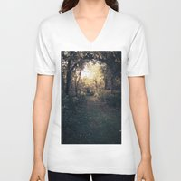 forrest V-neck T-shirts featuring Forrest Haven  by Night Flyer Abstract Arts