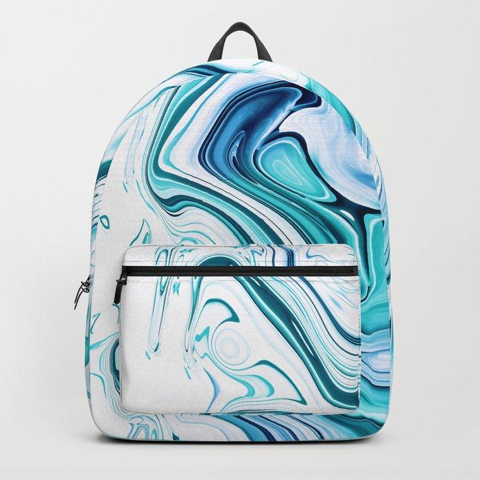 Liquid Marble - aqua & blues Backpack