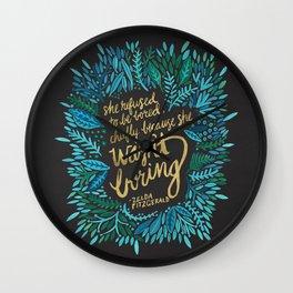 Zelda Fitzgerald – Blue on Black Wall Clock