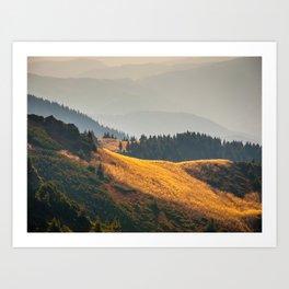 Parallax Landscape Rolling Hills Photo Nature In Morning Sunlight Art Print