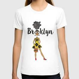 curly hair has Brooklyn Glasses T-shirt