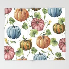 PUMPKINS WATERCOLOR Throw Blanket