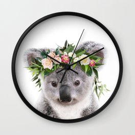 Baby Koala With Flower Crown, Baby Animals Art Print By Synplus Wall Clock