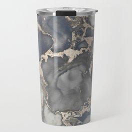 Alcohol Ink Art Grey Beige Golden Elegant Marble Painting Travel Mug
