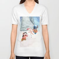 lilo and stitch V-neck T-shirts featuring Lilo and Stitch by Walko
