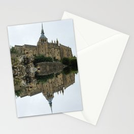 Mirrored landscape 2 Mont-Saint-Michel Stationery Cards