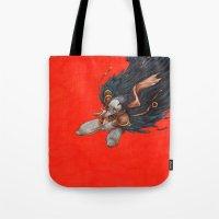 birdman Tote Bags featuring Birdman by Anna Landin