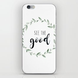 See the Good, Watercolor, Floral Leaf Wreath iPhone Skin