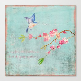 My favorite weather - Romantic Birds Cherryblossoms and Spring Typography on teal Canvas Print