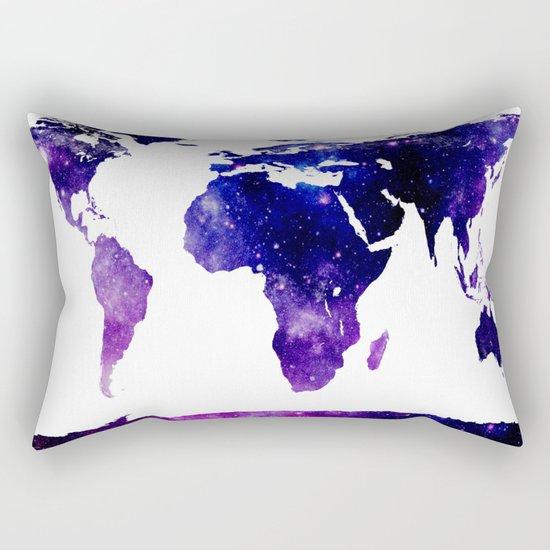 World Map Purple Blue Rectangular Pillow