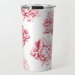 Pink Rose Garden on White Travel Mug