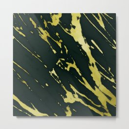 Gold Black Marble Metal Print