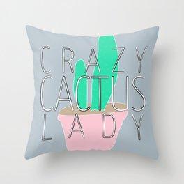 Crazy Cactus Lady Typography & Cacti Pastel Illustration Throw Pillow