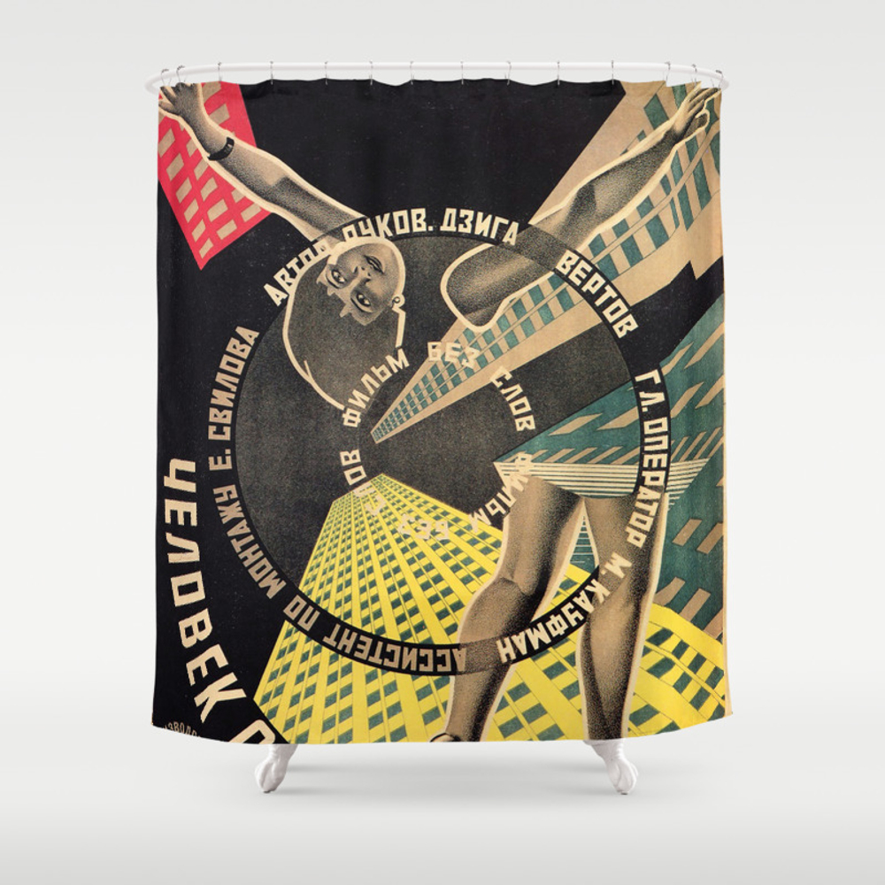 Man With A Movie Camera, Vintage Movie Poster, 192… Shower Curtain by Alma_design CTN7699478