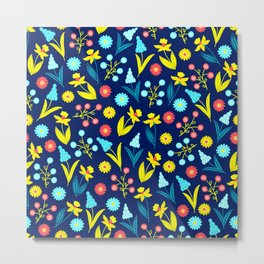 Easter Floral Pattern In Sunny Yellow, Aqua And Blue Metal Print