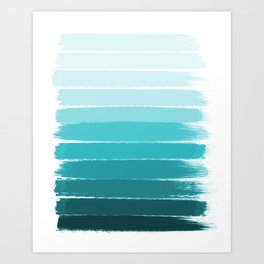 Sapote - painted abstract brushstrokes ombre blue colorful bright coastal decor dorm college Art Print