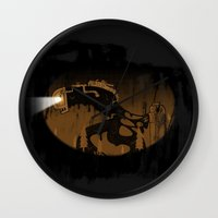 oil Wall Clocks featuring oil monster by ErDavid