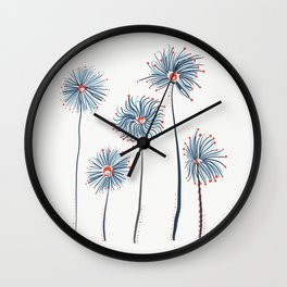Five Fuzzy Flowers Wall Clock