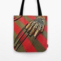 freddy krueger Tote Bags featuring Freddy Krueger by Rachel Bradford