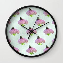 Bee And Sedum Bloom Wall Clock