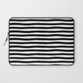 Black And White Hand Drawn Horizontal Stripes Laptop Sleeve
