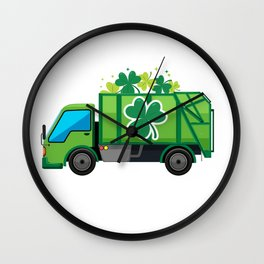 Clover Truck St Patricks Day Full Green Shamrock Wall Clock