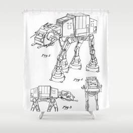 At At Walker Patent - At-At Walker Art - Black And White Shower Curtain