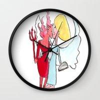 lesbian Wall Clocks featuring Angel/devil lesbian kiss by Nehalennia