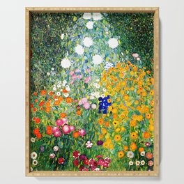 Flower Garden by Gustav Klimt vibrant Serving Tray
