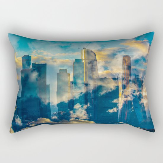 skyscrapers in the clouds Rectangular Pillow