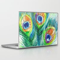peacock feather Laptop & iPad Skins featuring Peacock feather  by Slaveika Aladjova