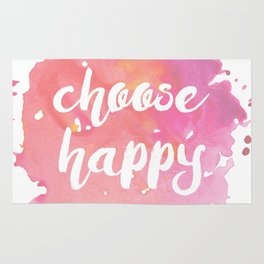 Choose Happy Watercolor Quote Inspirational Illustration Rug