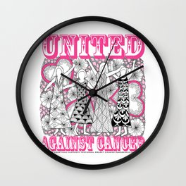 United Against Cancer - Breast Cancer Awareness - Zentangle Women Wall Clock