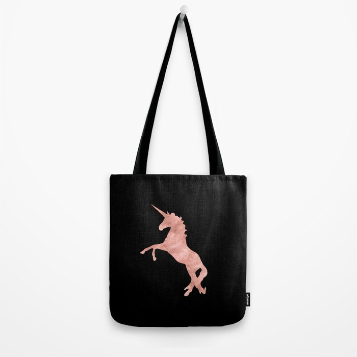 Unicorn Pink Rose Gold Black Tote Bag
