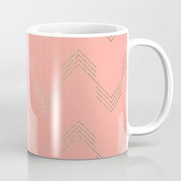 Simply Deconstructed Chevron White Gold Sands on Salmon Pink Coffee Mug