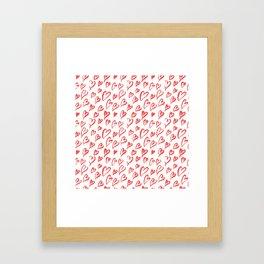 Red hearts seamless pattern Framed Art Print