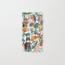 Cat and Floral Pattern III Hand & Bath Towel