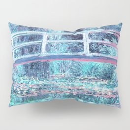 Monet The Water Lily Pond Pastel Ice Blue Pink Pillow Sham