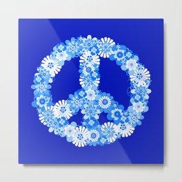 Peace Sign Floral Blue Metal Print
