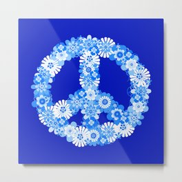 Peace Sign Floral Blue Metal Print