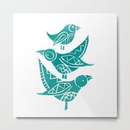 Handmade Block Print of Turquoise Birds Metal Print